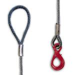 Brache di fune di acciaio 1 braccio / asola + gancio self locking (anima tessile)