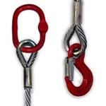 Brache di fune di acciaio 1 braccio / campanella + gancio ad occhio (anima tessile)