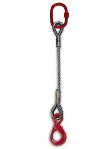 Brache di fune di acciaio 1 braccio / campanella + gancio self locking (anima tessile)
