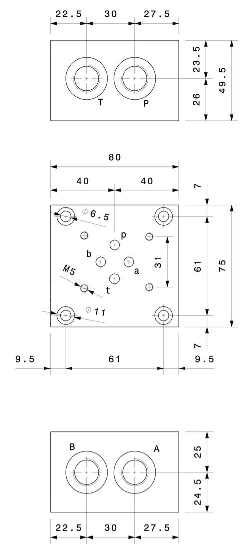 base-per-singola-elettrovalvola-cetop-3-in-linea-5