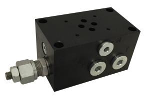 Base per singola elettrovalvola CETOP 3 con valvola limitatrice di pressione - connessioni laterali