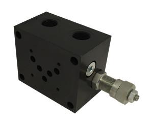 Base per singola elettrovalvola CETOP 5 con valvola limitatrice di pressione - connessioni laterali