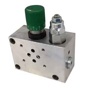 Base per singola elettrovalvola con valvola limitatrice di pressione e valvola regolatrice di flusso a tre vie prioritaria– CETOP 3