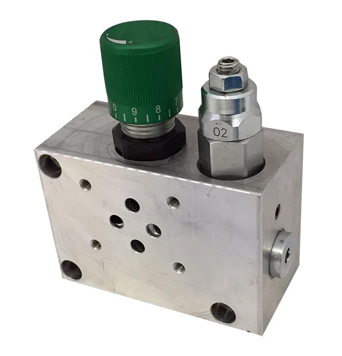 base-per-singola-elettrovalvola-con-valvola-limitatrice-di-pressione-e-valvola-regolatrice-di-flusso-a-tre-vie-prioritaria-cetop-3-foto