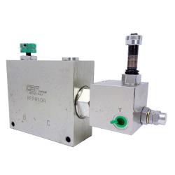 Valvola regolatrice di flusso con BY-PASS pilotato (MARTELLO IDRAULICO) - in acciaio